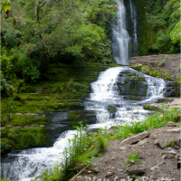 The Untouched World - Waterfall along Haast Pass in New Zealand